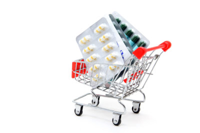 medicines inside the shopping cart