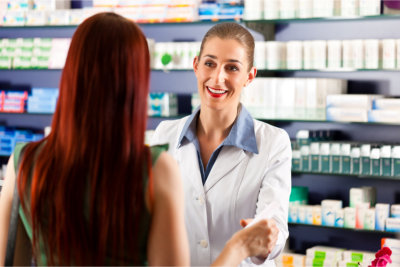 customer talking to pharmacist